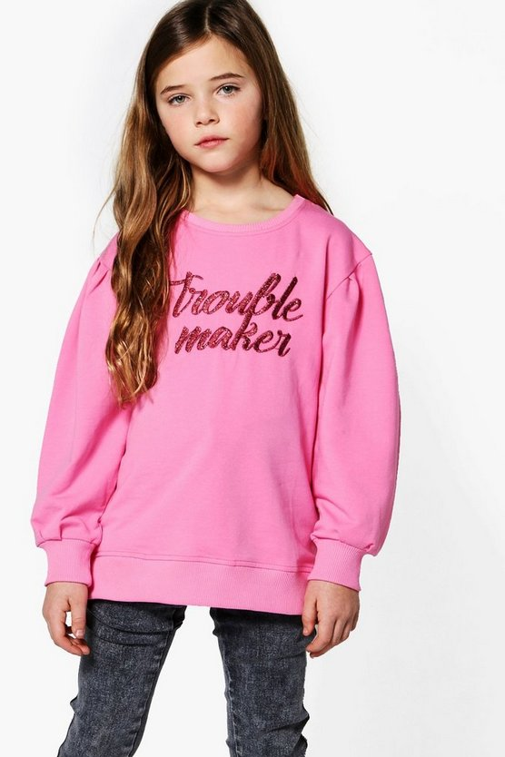Girls Trouble Maker Drop Puff Sleeve Sweat