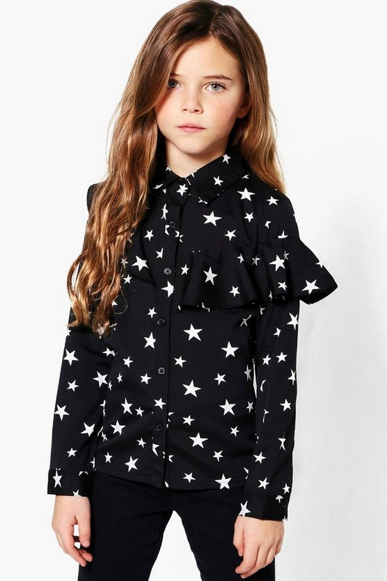 Girls Star Print Ruffle Blouse