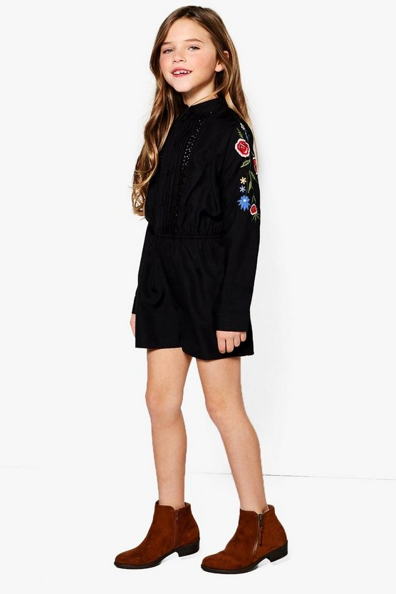 Girls Embroidered Puff Sleeve Playsuit