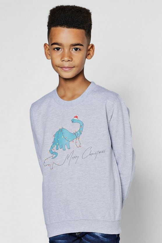 Boys Dinosaur Christmas Sweatshirt