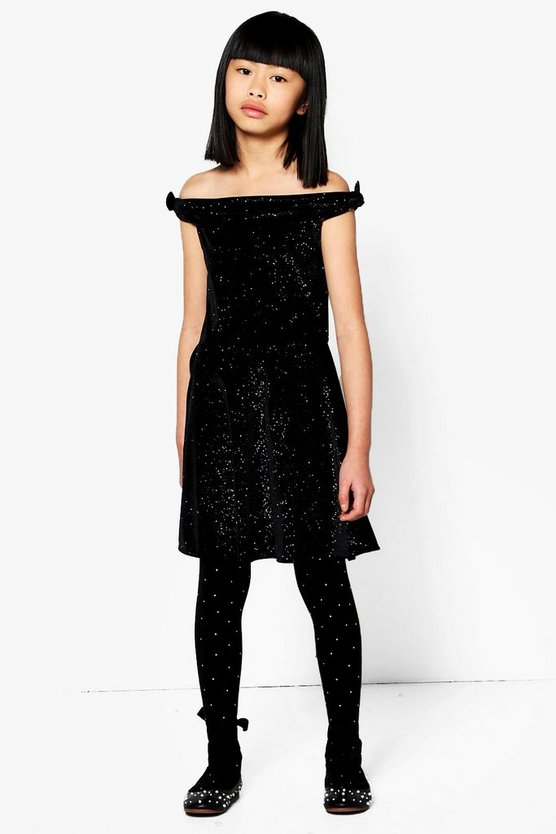 Girls Sparkle Velour Bardot Dress