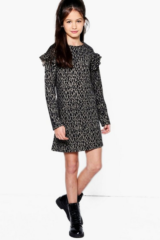 Girls Leopard Sparkle Ruffle Sleeve Dress