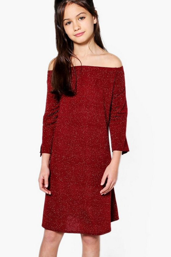 Girls Bardot Sparkle Tie Sleeve Shift Dress