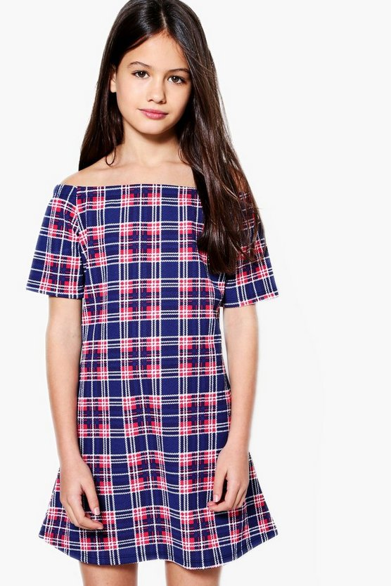Girls Bardot Check Skater Dress