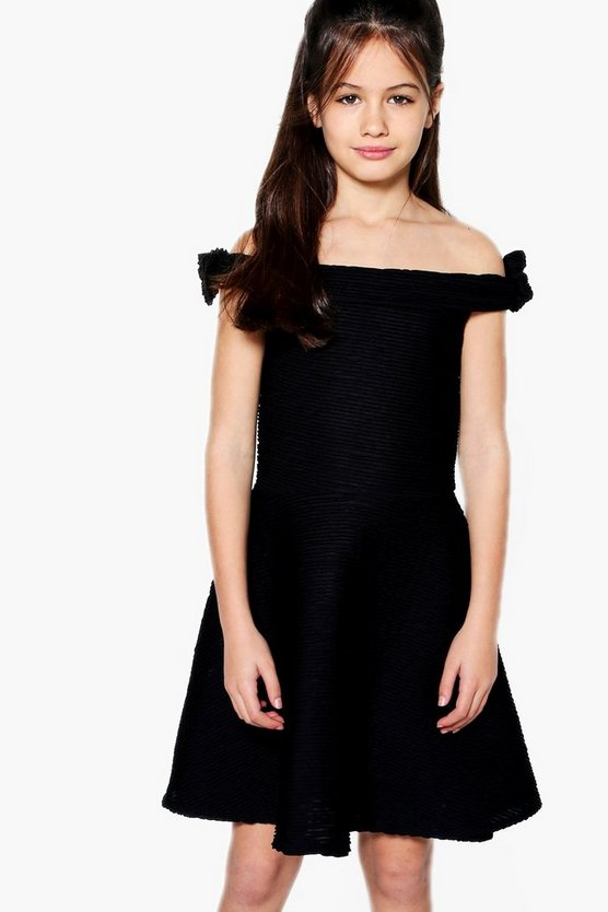 Girls Textured Bardot Skater Dress
