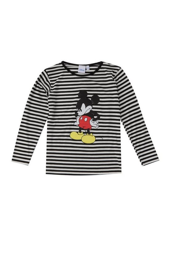 Boys Disney Long Sleeve Stripe Tee With Mickey Print