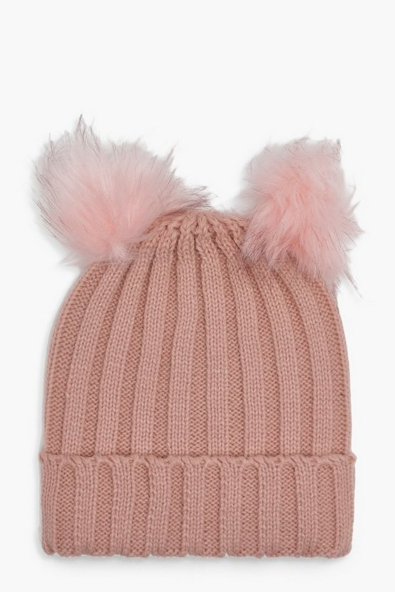 Girls Double Pom Beanie Hat