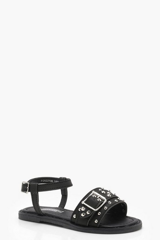 Girls Buckle & Stud Trim Sandal