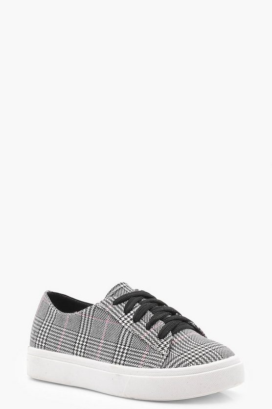 Girls Lace Up Check Print Trainer