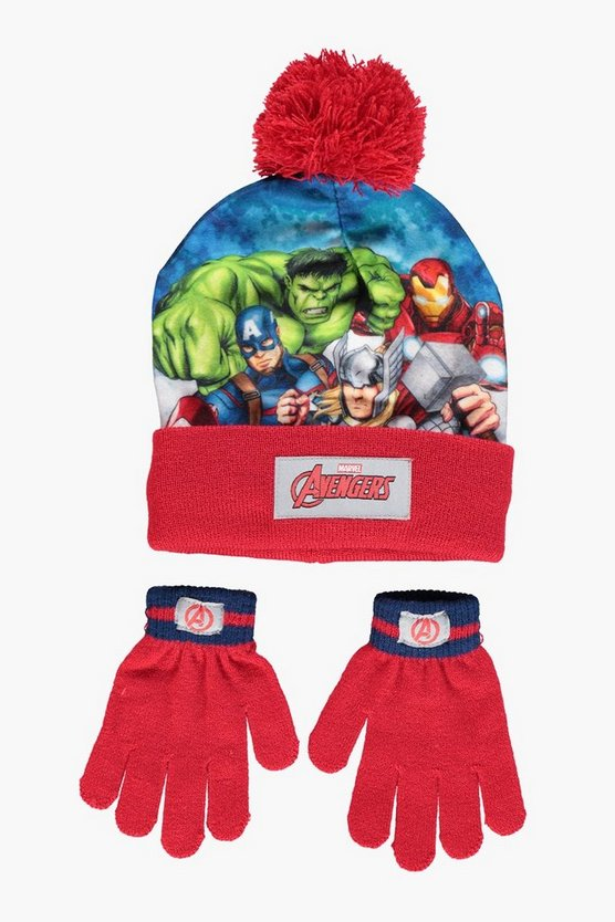 Boys Avengers Knitted Hat And Gloves Set