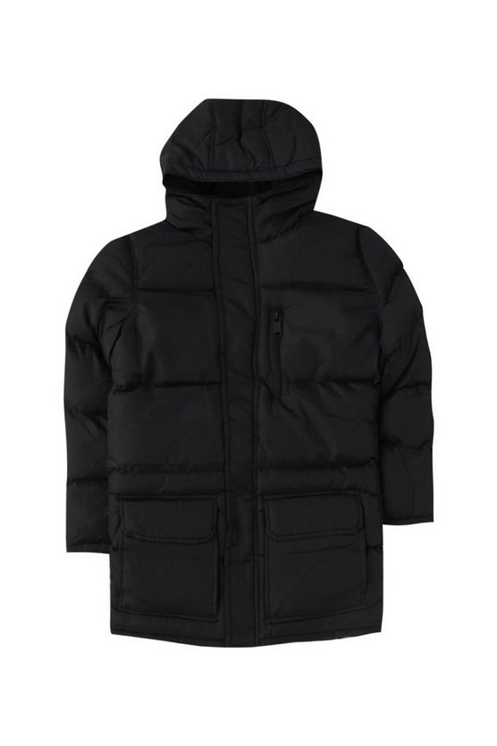 Boys Long Length Hooded Puffer Jacket