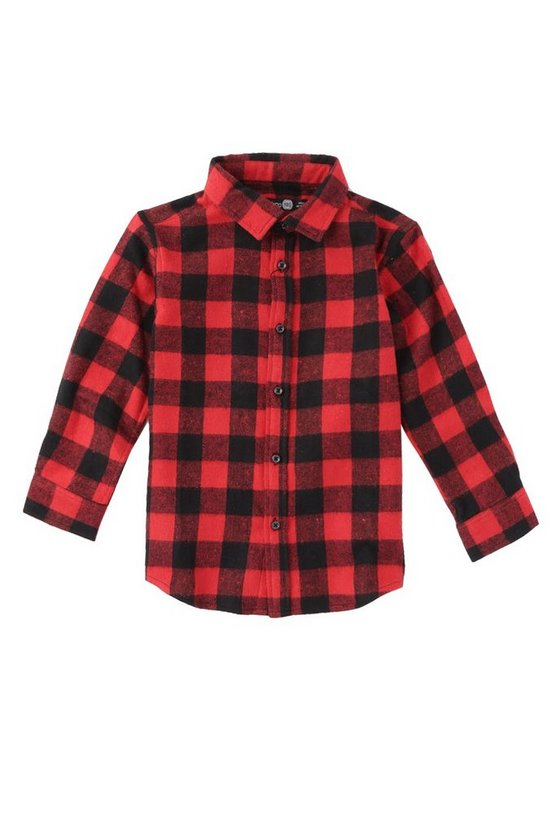 Boys Brushed Check Long Sleeve Shirt