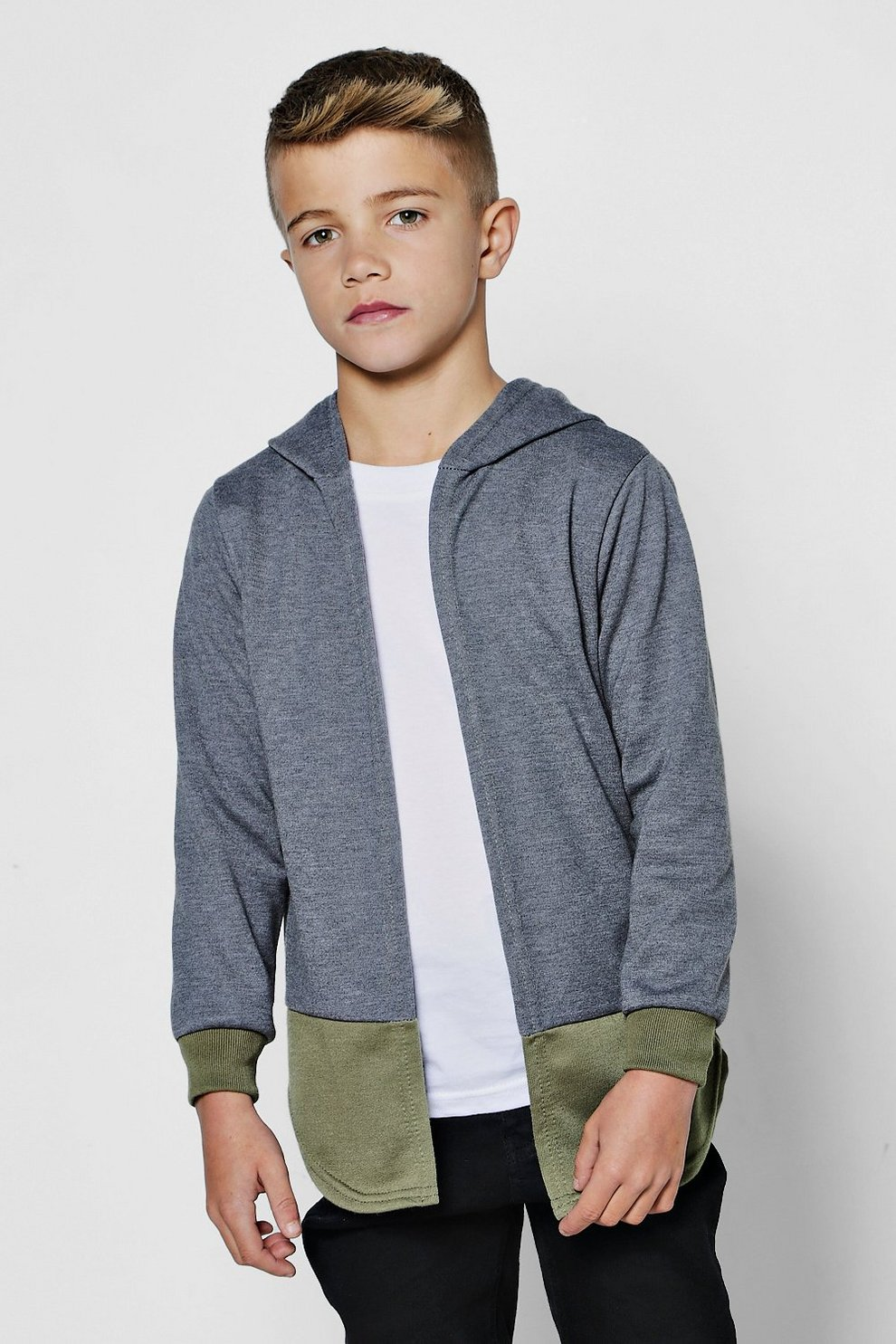 Boys Edge To Edge Hooded Jersey Cardigan | Boohoo