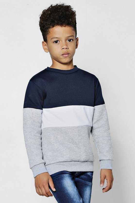 Boys Colour Block Panel Sweater