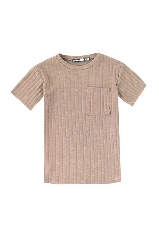 Boys Curved Hem Ribbed T-Shirt