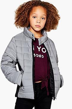 A contrasto cappotto imbottito bambina