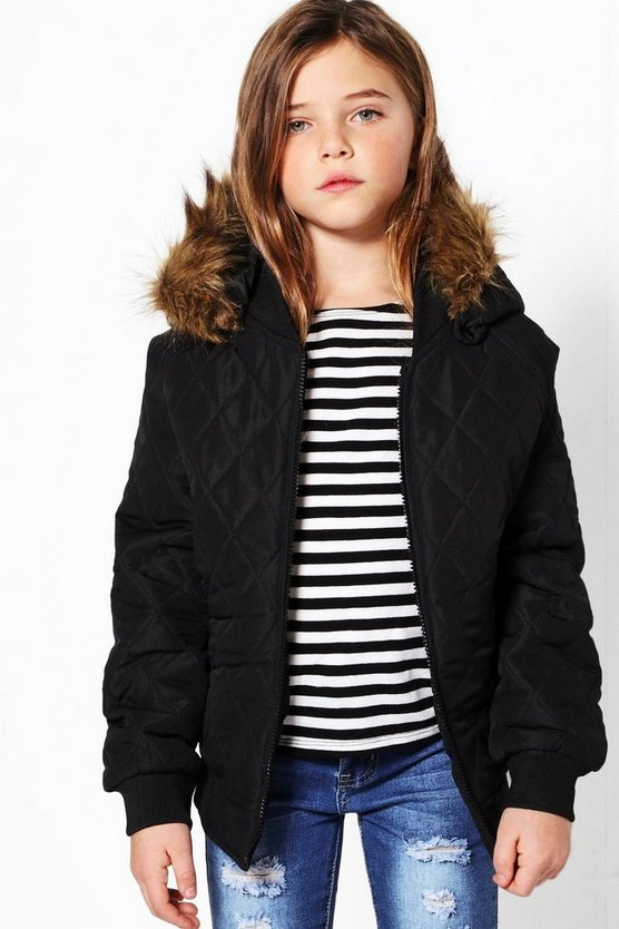Girls Quilted Faux Fur Hooded Bomber Jacket