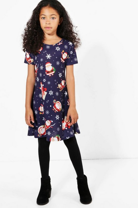 Girls Santa Print Swing Dress