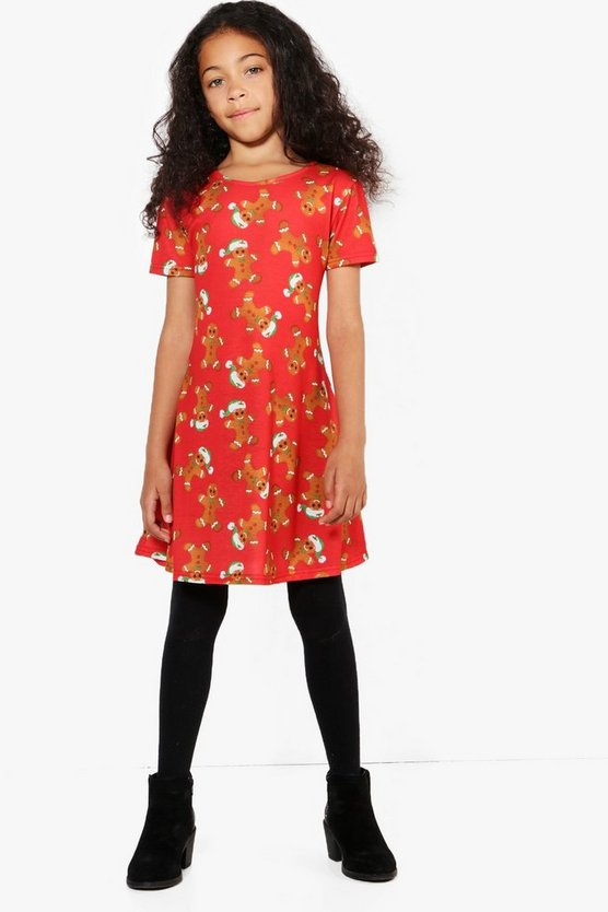 Girls Gingerbread Man Swing Dress