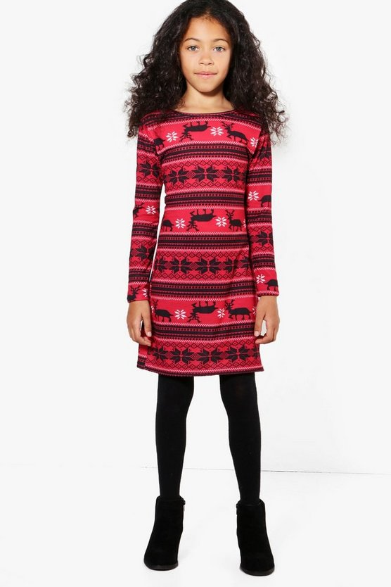 Girls Fairisle Bodycon Dress