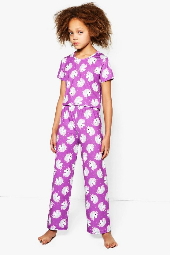 Girls Unicorn Printed Tee & Bottom Set