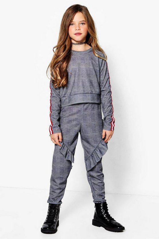 Girls Check Tape Ruffle Tracksuit