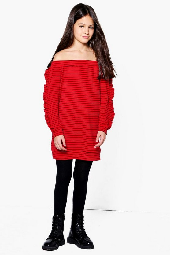 Girls Bardot Micro Ruffle Rib Dress