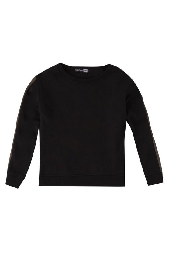 Boys Sleeve Stripe Crew Neck Sweat