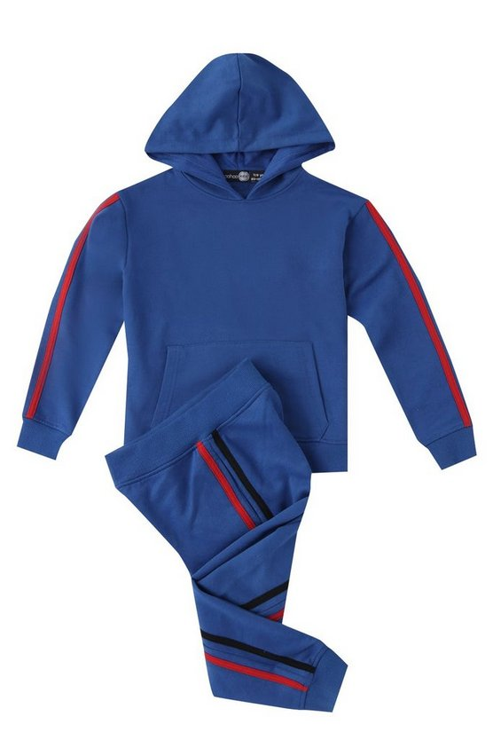 Boys Hooded Tracksuit With Red Taping
