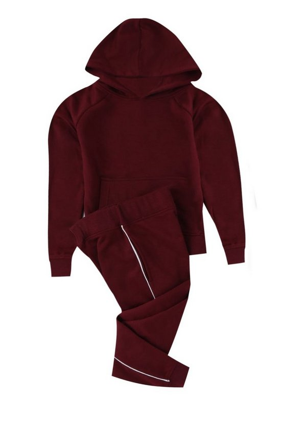Boys Hooded Top And Jogger Set With Piping