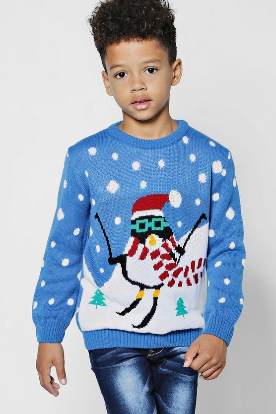 Boys Skiing Penguin Christmas Jumper