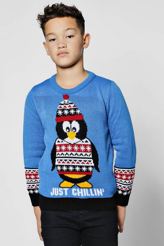 Boys Happy Penguin Christmas Jumper