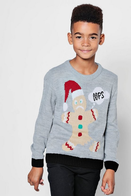 Boys Christmas Gingerbread Man Jumper