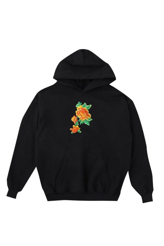 Boys Orange Rose Embroidered Hoodie