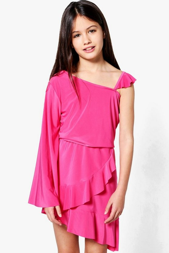 Girls Asymetric Ruffle One Shoulder Dress