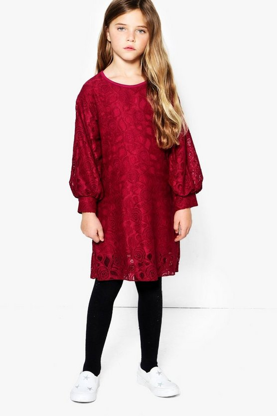Girls Lace Puff Sleeve Shift Dress