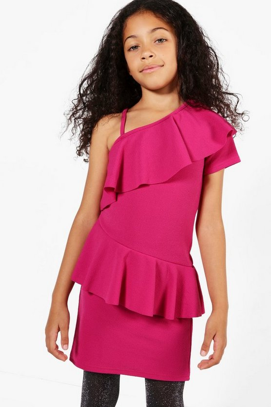 Girls One Shoulder Frill Bodycon Dress