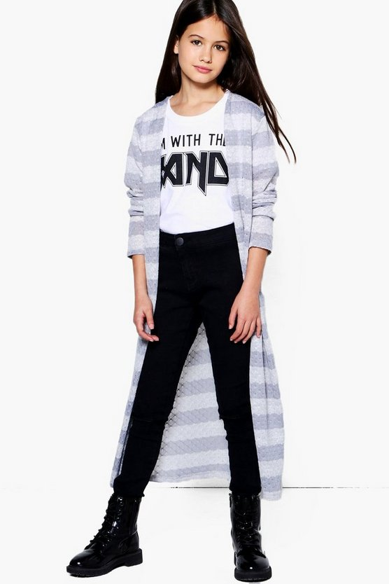 Girls Stripe Knitted Longline Cardigan