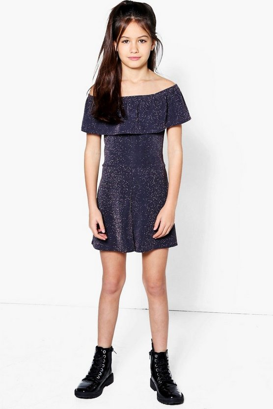 Girls Bardot Frill Sparkle Playsuit
