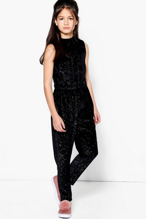 Girls Velvet Sparkle Jumpsuit