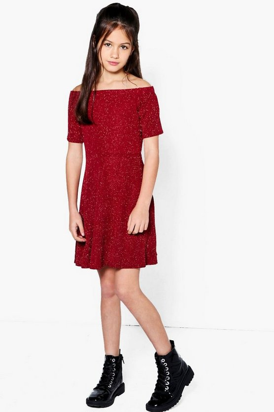 Girls Sparkle Bardot Skater Dress