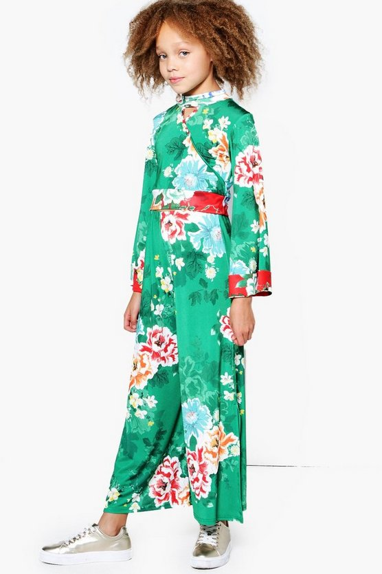 Girls Oriental Floral Side Split Trouser