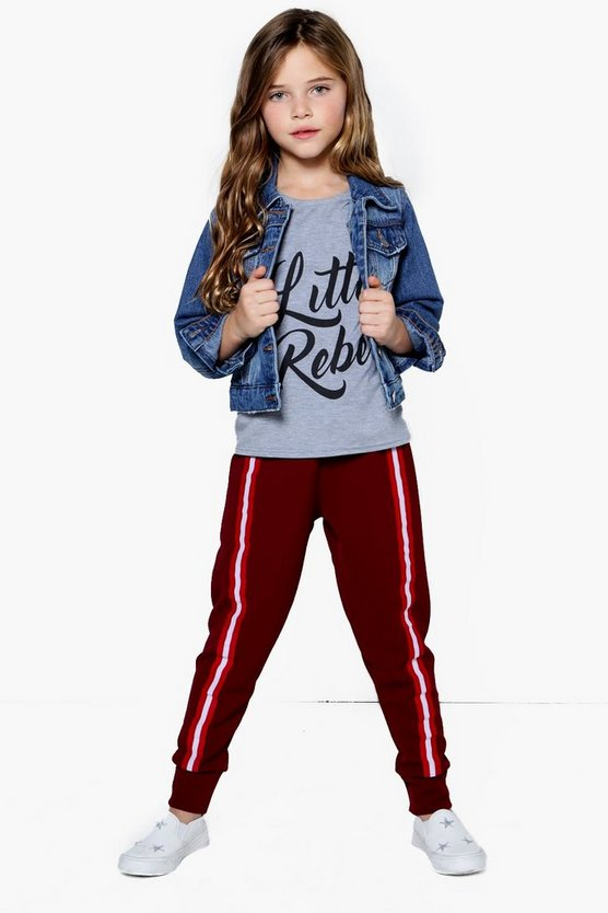 Girls Crepe Front Tape Trousers