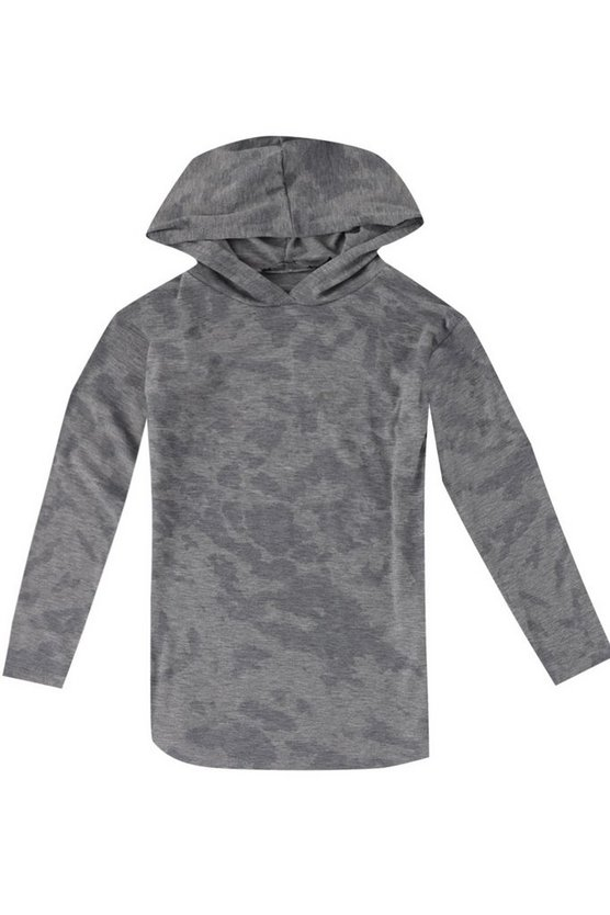 Boys Long Line Splash Print Hoodie