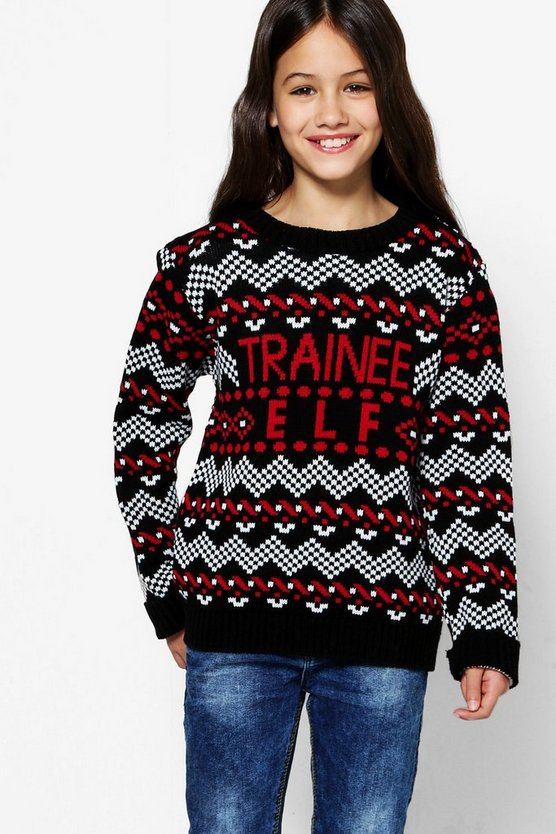 Girls Trainee Elf Christmas Jumper
