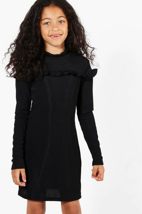Girls Micro Ruffle Funnel Neck Bodycon Dress