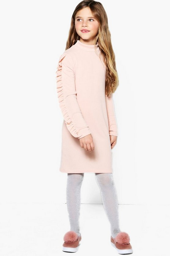 Girls Ruffle Long Sleeve Bodycon Dress
