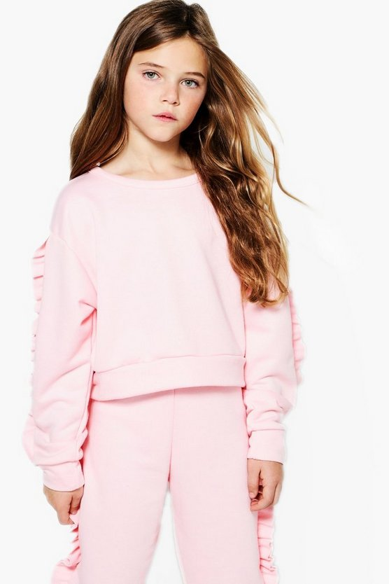 Girls Micro Ruffle Sleeve Sweat Top