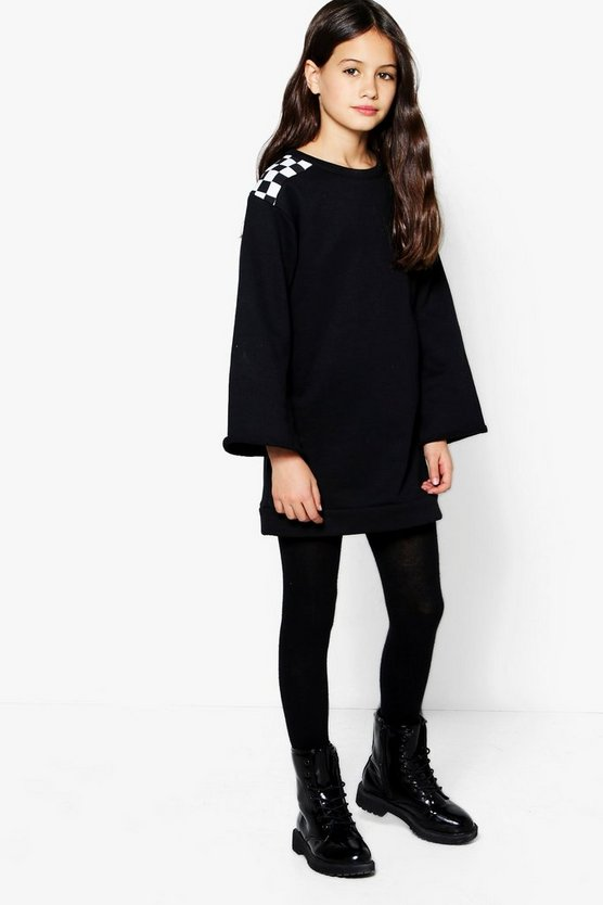 Girls Check Drop Shoulder Sweat Dress