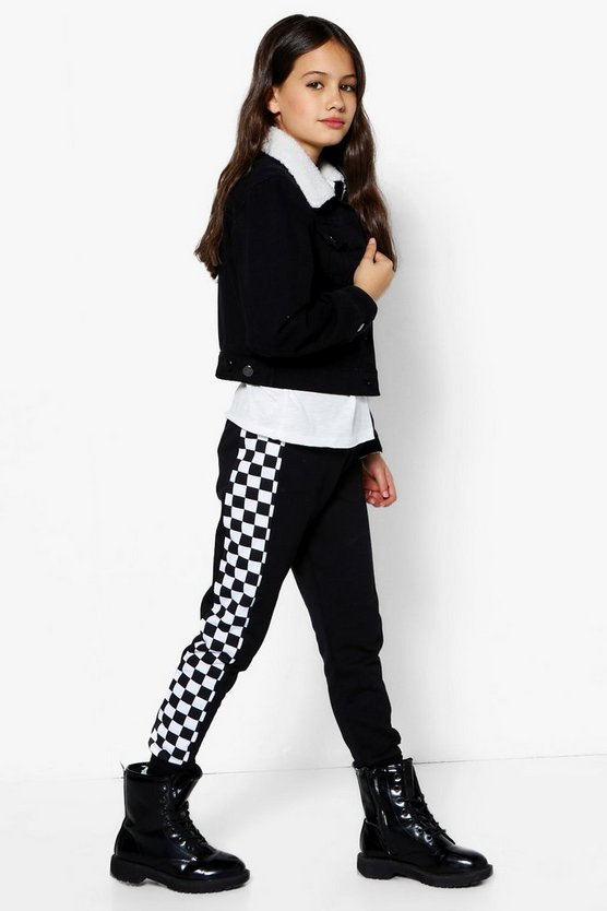 Girls Checkerboard Panel Jogger